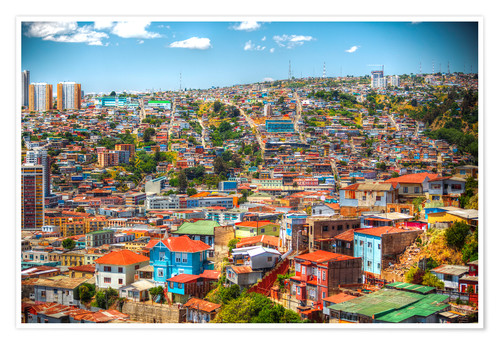 Premium poster UNESCO World Heritage city of Valparaiso