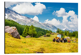 Aluminium print  Tractor in summer field