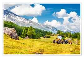 Premium poster  Tractor in summer field