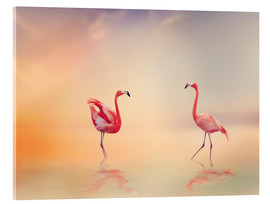 Acrylic print  Two Flamingoes in The Lake at Sunset