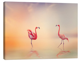 Canvas  Two Flamingoes in The Lake at Sunset