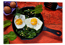 Acrylic glass  Breakfast pan eggs on spinach - K&L Food Style