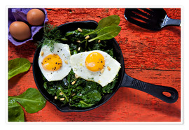 Poster Breakfast pan eggs on spinach