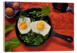 K&L Food Style - Breakfast pan eggs on spinach