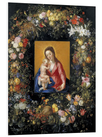Foam board print  Flower Garland Around the Virgin and Child - Jan Brueghel d.Ä.