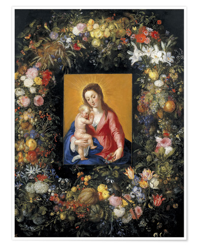 Premium poster Flower Garland Around the Virgin and Child