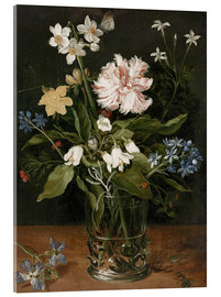 Acrylic print  Still Life with Flowers in a Glass Vase - Jan Brueghel d.Ä.