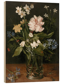 Wood  Still Life with Flowers in a Glass Vase - Jan Brueghel d.Ä.