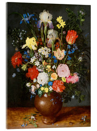 Jan Brueghel d.Ä. - Bouquet of flowers in clay vase