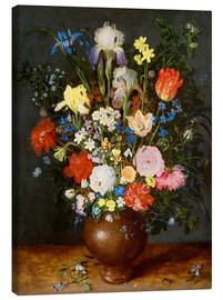 Canvas print  Bouquet of flowers in clay vase - Jan Brueghel d.Ä.