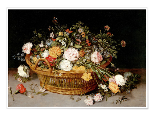 Premium poster A Basket of Flowers