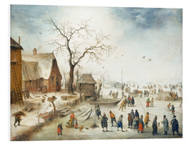 Foam board print  Village in winter with farmers on the ice - Jan Brueghel d.J.