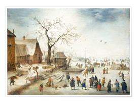 Premium poster Village in winter with farmers on the ice