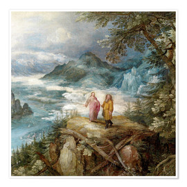 Premium poster Wide mountain landscape with the temptation of Christ