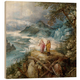 Wood print  Wide mountain landscape with the temptation of Christ - Jan Brueghel d.Ä.