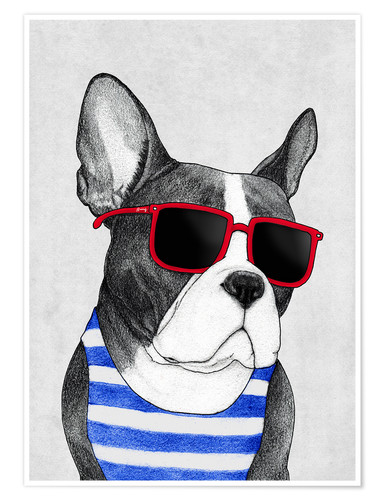 Premium poster Frenchie summer style