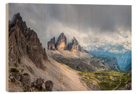 Wood print  Cloud sky at Tre Cime in Dolomite Alps - Dieter Meyrl
