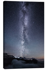 Canvas print  Nightscape with galaxy above clouds from Legler mountain hut  Glarus, Switzerland - Peter Wey