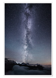 Premium poster Nightscape with galaxy above clouds from Legler mountain hut  Glarus, Switzerland