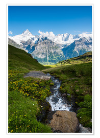 Premium poster  Mountain panorama with Schreckhorn and Fiescherhorn  View from First, Grindelwald, Switzerland - Peter Wey