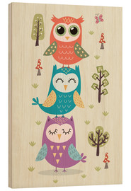 Wood print  Three owls - Kidz Collection