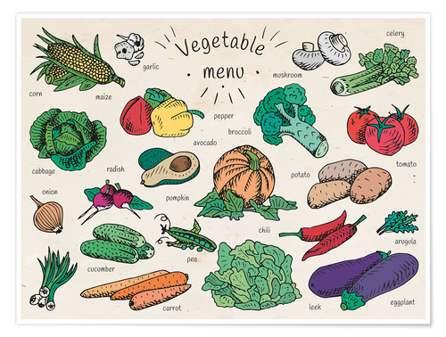 Premium poster Little vegetable menu