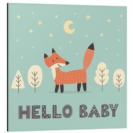Aluminium print  A little fox standing in the forest - Kidz Collection