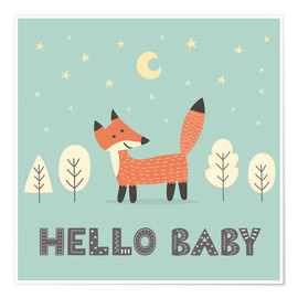 Premium poster  A little fox standing in the forest - Kidz Collection