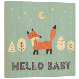 Wood print  A little fox standing in the forest - Kidz Collection