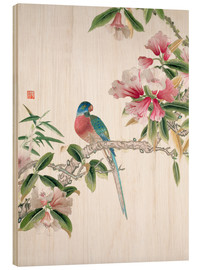 Wood print  Jay on a flowering branch - Chinese School