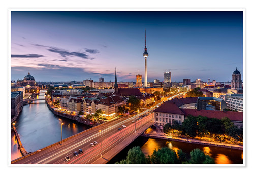 Premium poster Berlin | Nightfall in the capital town