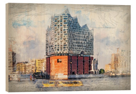 Wood print  The new Elbphilharmonie, Hamburg - Peter Roder