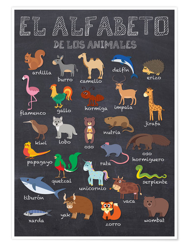 Premium poster Alphabet of Animals (Spanish)