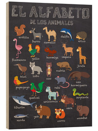 Wood print  Alphabet of Animals - Spanish - Kidz Collection