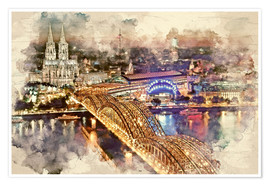 Premium poster Cologne Skyline Cologne Cathedral