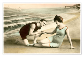 Premium poster Romantic Victorian Couple on the Beach