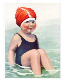 Premium poster Child Wearing a Swim Cap Sitting in the Surf
