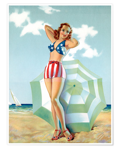 Premium poster Patriotic Pinup Girl at Beach