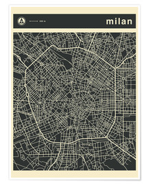 Poster  MILAN CITY MAP - Jazzberry Blue