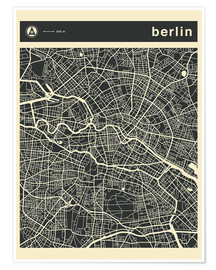 Premium poster  Berlin City Map - Jazzberry Blue