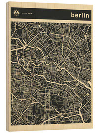 Wood print  Berlin City Map - Jazzberry Blue