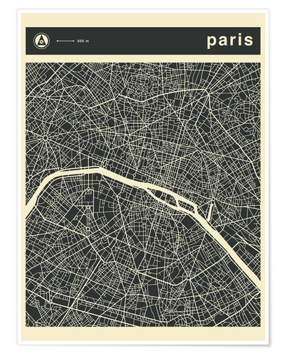 PARIS CITY MAP Posters and Prints | Posterlounge.co.uk