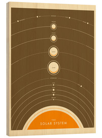 Wood print  The Solar System IV - Jazzberry Blue