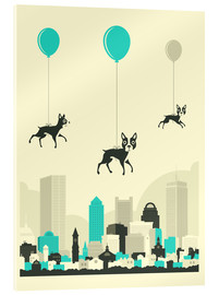 Acrylic print  FLOCK OF BOSTON TERRIERS - Jazzberry Blue