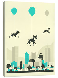 Canvas  FLOCK OF BOSTON TERRIERS - Jazzberry Blue