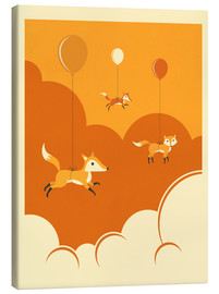 Canvas  FLOCK OF FOXES - Jazzberry Blue