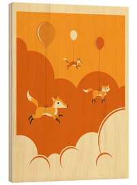 Wood print  FLOCK OF FOXES - Jazzberry Blue