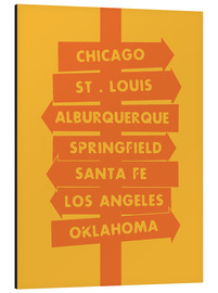 Aluminium print  City signs locations route 66 art print - Nory Glory Prints