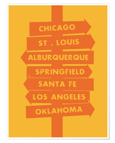 Premium poster City signs locations route 66 art print