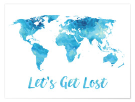 Premium poster World Map Watercolor Blue